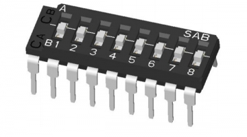 ON-OFF-ON Multi-pole DIP switch (Two Common): Thru-hole Lead